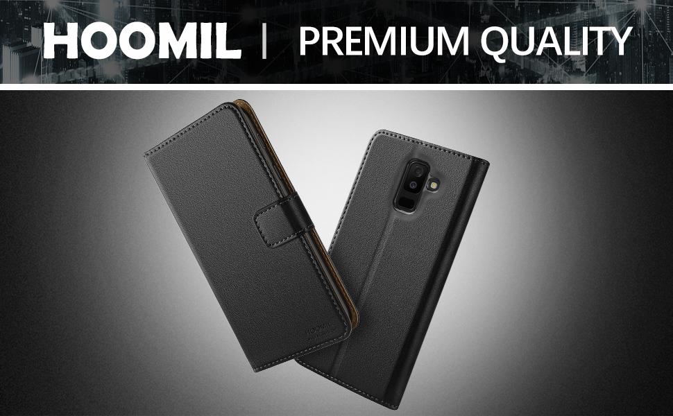 Samsung Galaxy A6 Plus 2018 Premium Leather Flip Wallet Phone Case Cover (Black)