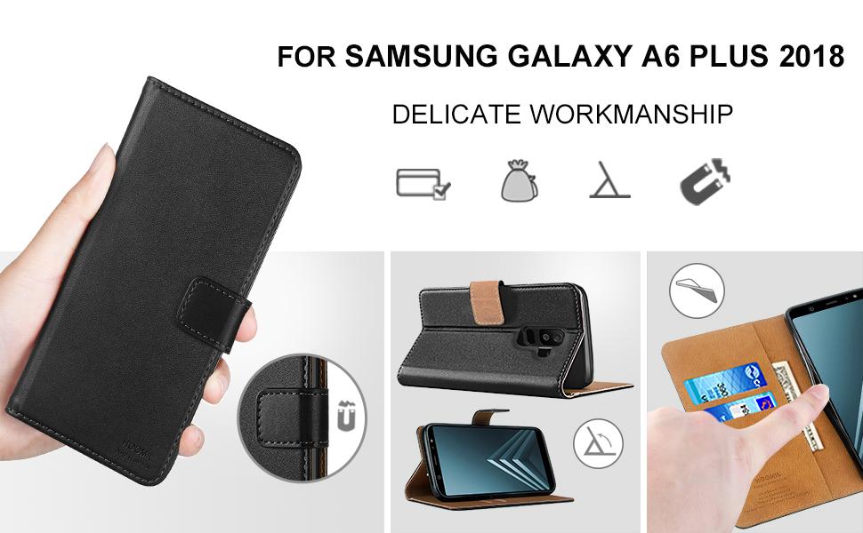 Samsung Galaxy A6 Plus 2018 Premium Leather Flip Wallet Phone Case Cover (Black)-2