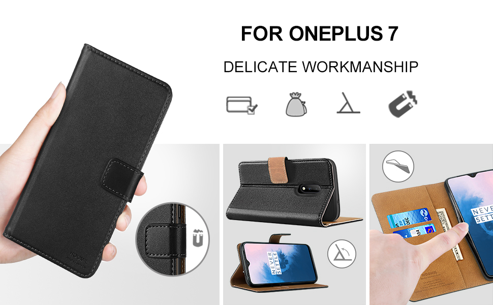 HOOMIL Case Compatible with OnePlus 7, Premium PU-Leather Flip Wallet Phone Case for OnePlus 7 Cover (Black)