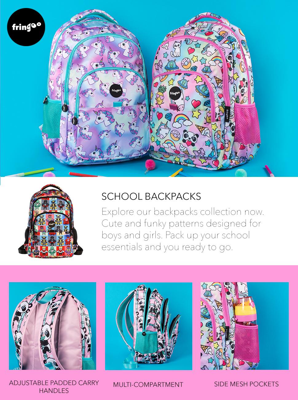 627d1bb42f7a FRINGOO® Girls Boys Multi-compartment School Backpack Waterproof ...