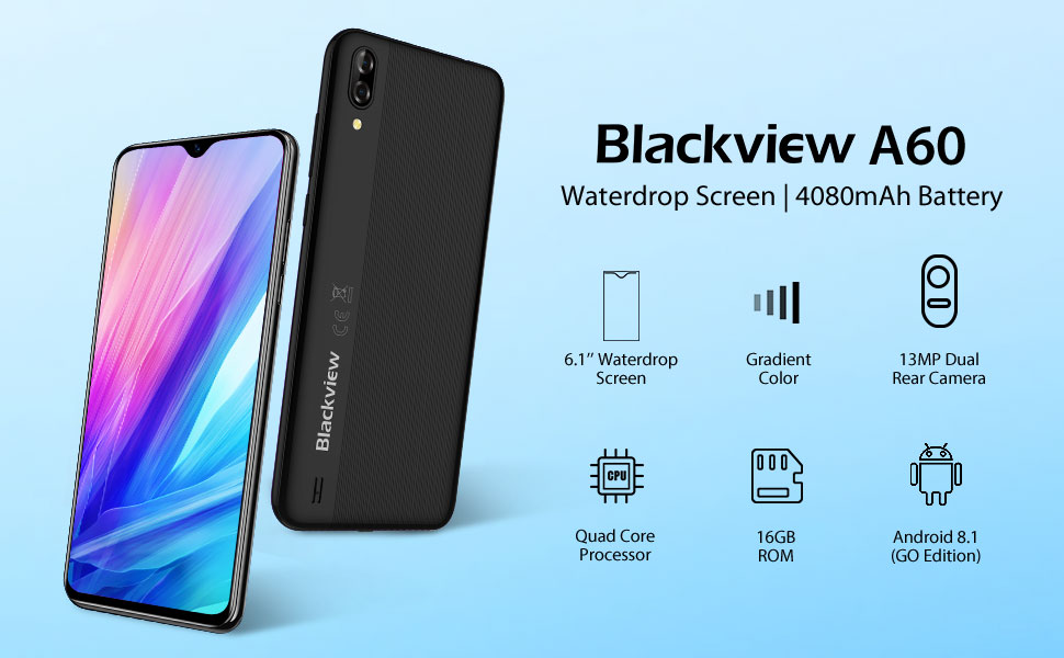 Mobile Phone, Blackview A60 (2019) UK SIM-Free Smartphones Unlocked with  6 1'' Waterdrop screen, Phone Android 8 1 Oreo 1GB RAM+16GB ROM, 4080mAh,