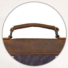 Sturdy leather handle. Finished seams are strapping and even.