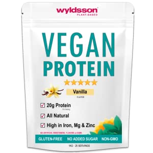 vanilla vegan protein powder plant based dairy free organic pea meal replacement shake greens