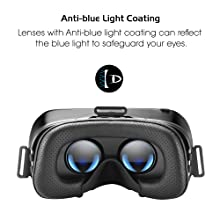 DESTEK V4 VR Headset, 103° FOV, Eye Protected HD Virtual Reality Headset  w/Touch Button for iPhone Xs/XR/X Max X 8 7 6 6s plus, Samsung S9 S8 S7