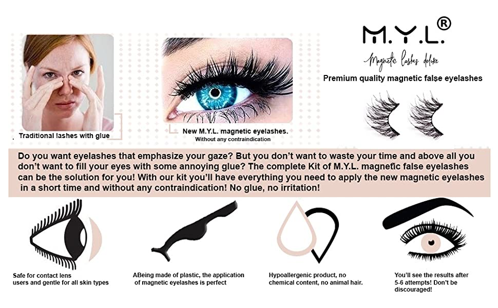Reusable Magnetic Fake Eyelashes 20 By Myl Natural Effect