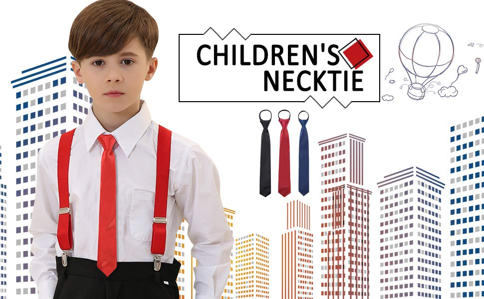 Boys Tie Clip On Black Red Stripe Prom Stag Occasion
