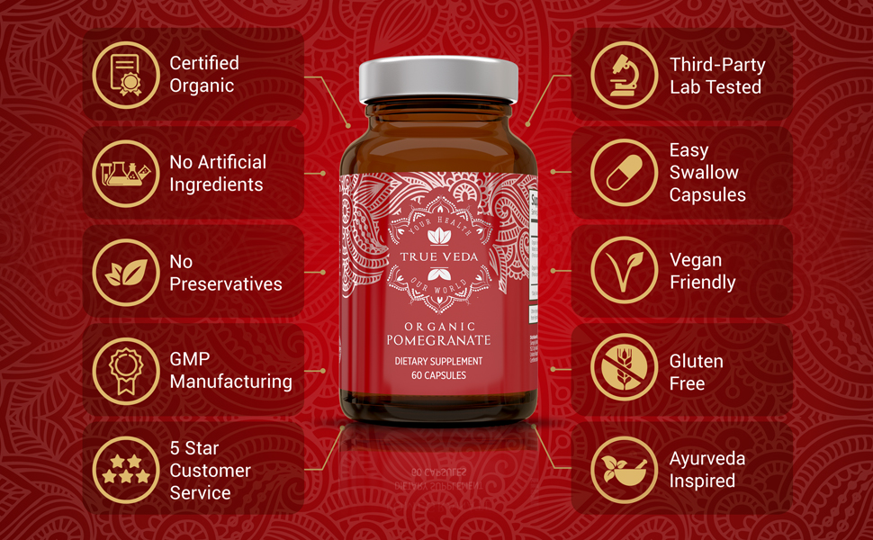 organic pomegranate extract capsules tablets pills supplement antioxidant prostrate blood pressure