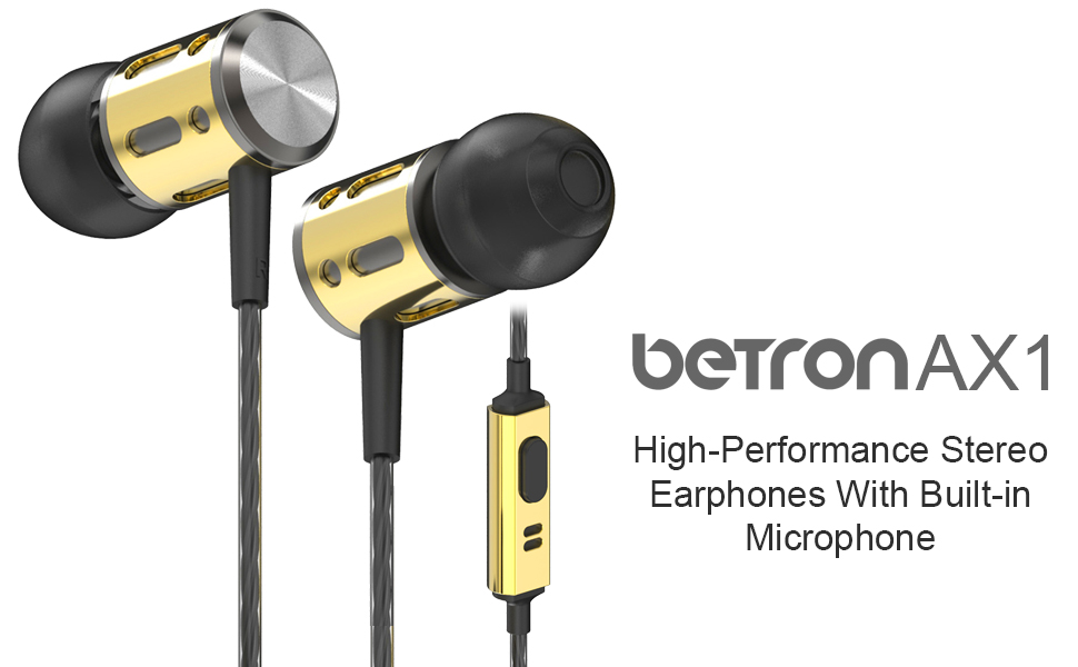 Betron AX1 stereo noise isolating earphones