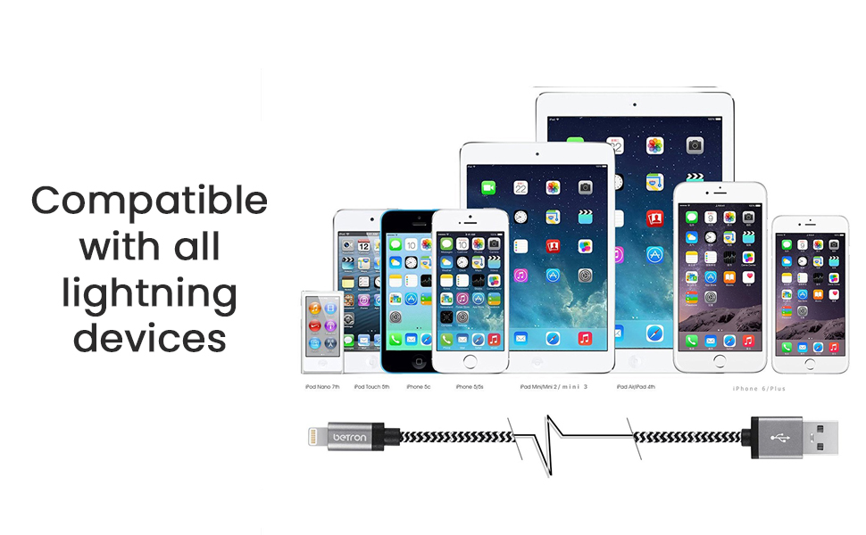 Betron Charging Cable Lead Wire for Apple Iphone, Ipad, Ipod, Ipad ...
