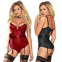5cdfb85723f1 Plus Size Lace Bodysuit with 4 adjustable garter straps sexy lingerie set  underwear