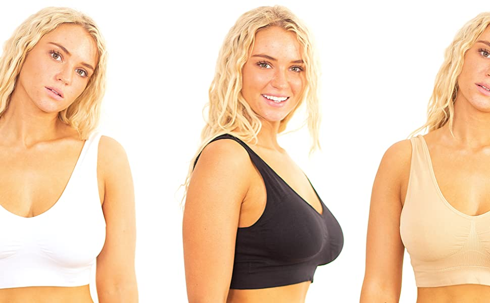 69269b2d5e3 Marielle 3-Pack Premium Comfort Bra - Sizes S-5XL! Seamless ...
