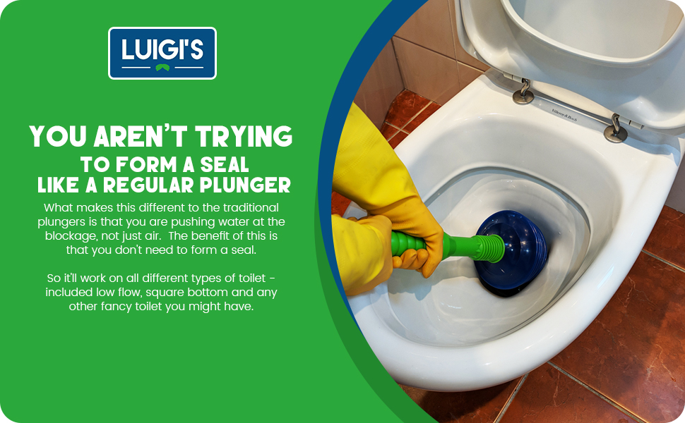 Luigi's - The World's Best Toilet Plunger: Big, Bad & Powerful  Clears and  Unblocks all Toilets With Unique Bellows Design (Updated 2018)