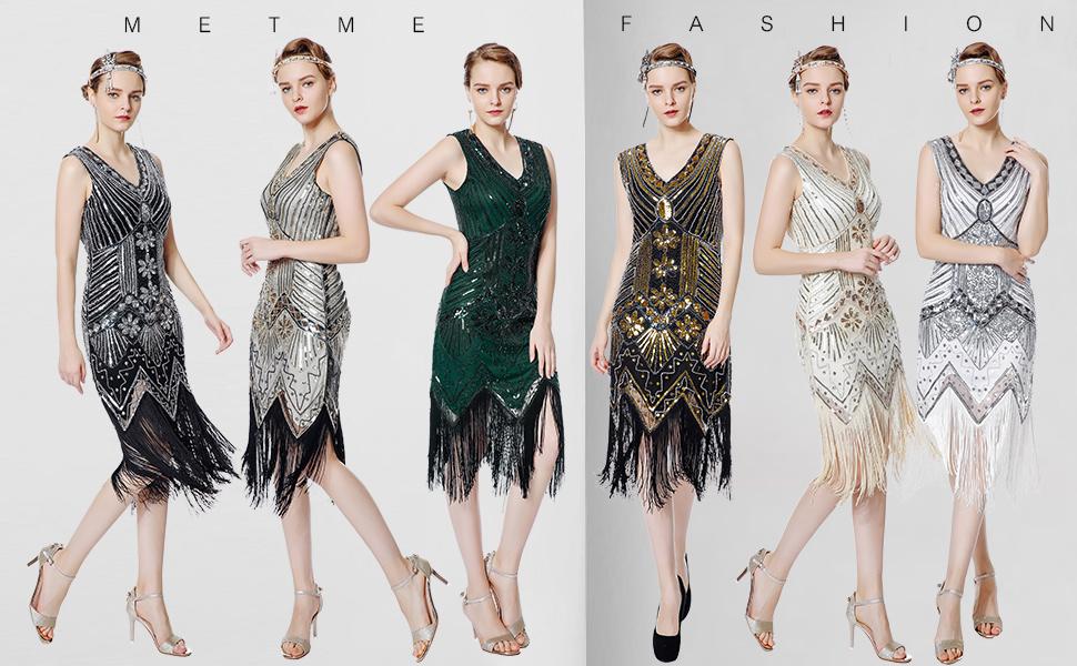 c8305c2abb19 Metme Women s 1920s V Neck Beaded Fringed Gatsby Theme Flapper Dress for  Prom. Metme