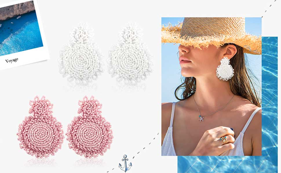 Gushion Statement Drop Earrings for Women Girl Handmade Bohemian Beaded Hoop Dangle Whimsical Fashion Vintage Beach Vacation Club Party Daily Ear Jewelry Accessory Present for Mom Sister with Gift Box