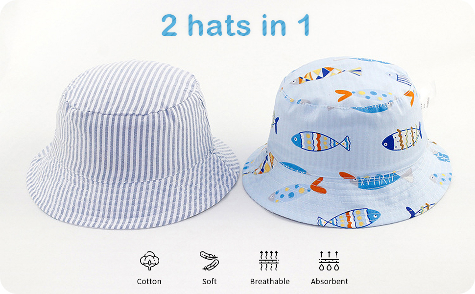Adorel Baby Boys Bucket Sun Hats Reversible Anti-UV Summer