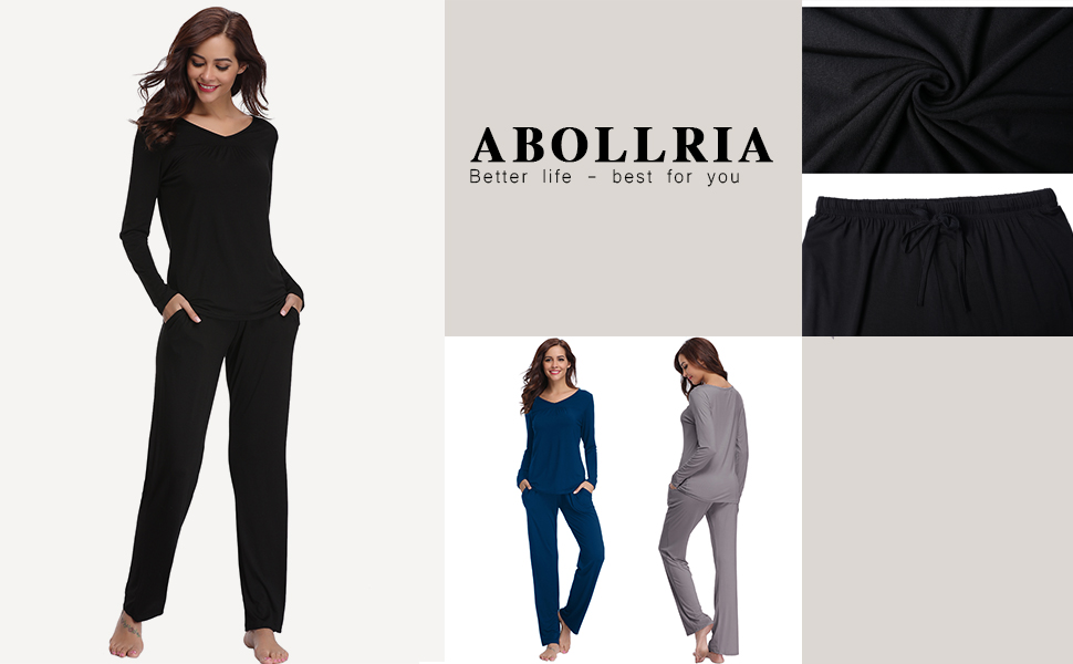 c1cc80778 Abollria Women Modal Pajamas, Soft Pyjama Set, Sleepwear Tops & Bottom Pjs  Set Nightwear Loungewear for Ladies