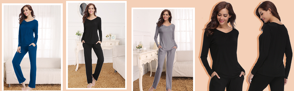 da08ede30 Abollria Women Modal Pajamas, Soft Pyjama Set, Sleepwear Tops ...