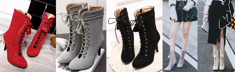 f76a415e92 SJJH Women Boots with Kitten Heel and Lace up Sexy Hollowed-Out ...