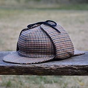 Deerstalker sherlock holmes beige brun tweed motif chapeau