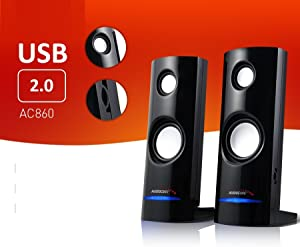 Audiocore AC860 8W 3 5mm USB Portable Bookshelf Speaker Set PC/Laptop/Tablet