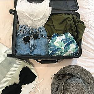 tropical leaf leaves suitcase travel portable makeup bag