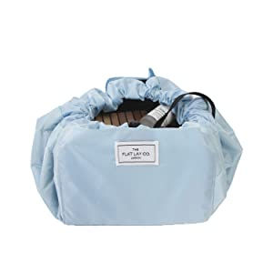 large makeup storage cosmetics toiletries bag open flat drawstring