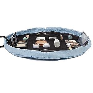haze blue cute pretty fun makeup bag open flat travel