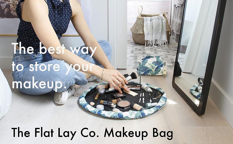 tropical print flat lay co makeup cosmetics bag mat travel