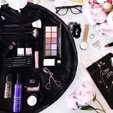 black open flat drawstring makeup bag cosmetics mat travel