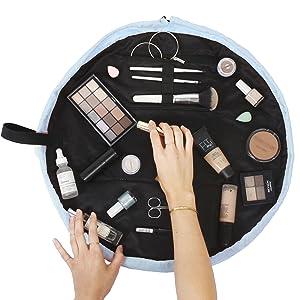 open flat large storage bag makeup cosmetics toiletries travel