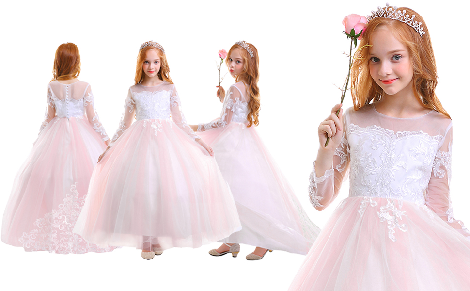 Summer Spanish Girls Flower Princess Lace Dress Christmas Party Pageant Prom