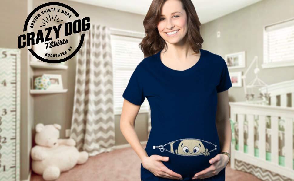 b90372dd5 Maternity Baby Peeking T Shirt Funny Pregnancy Tee for Expecting ...