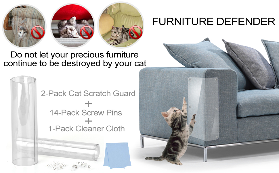 Alfheim 4 Pack Cat Scratch Furniture Protector XL with Pins Protecting upholstered furniture from Cat Scratching Durable and flexible scratch guards for furniture protection