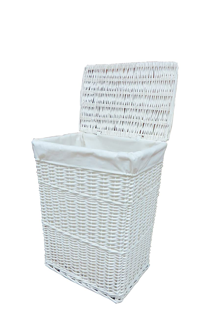Arpan large white wicker laundry basket with white lining White wicker washing basket
