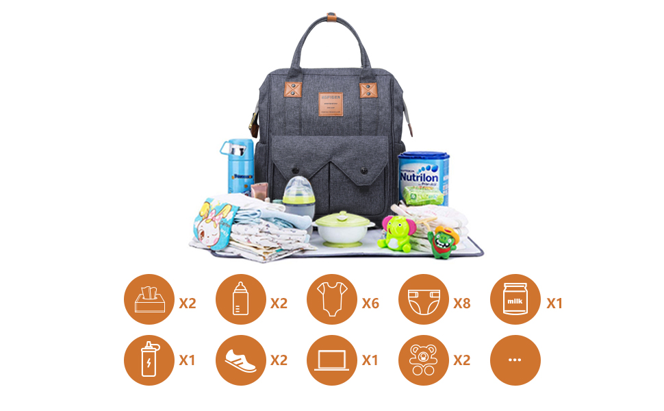 Blue Changing Pad for Mom or Dad MornPi Diaper Backpack Bag Multi-Function Waterproof Travel Backpack Baby Nappy Changing Backpack with Insulated Pocket,Stroller Straps