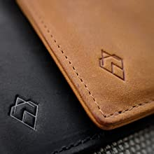 Tan rfid credit card protector wallet on the table