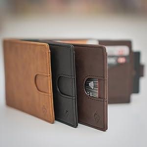 NFC leather wallet card holders black brown tan