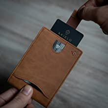 tan rfid credit card protector wallet pull tab