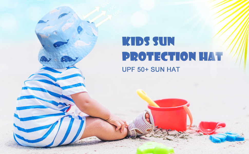 50 UPF Baby Sun Hat with Adjustable Chin Strap Reversible Design Kids Caps withh Self-adhesive Strap for Aged 4-6 Boy Girl welltop Kids Cotton Bucket Sun Hat