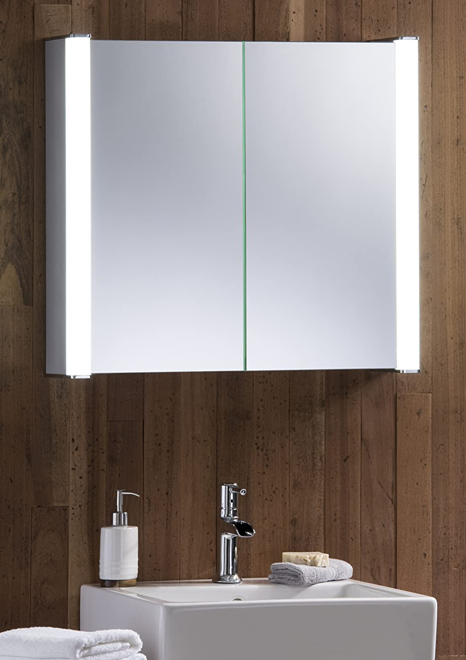 Neue design led illuminated bathroom mirror cabinet with demister heat pad shaver and sensor for Heated bathroom mirror cabinet