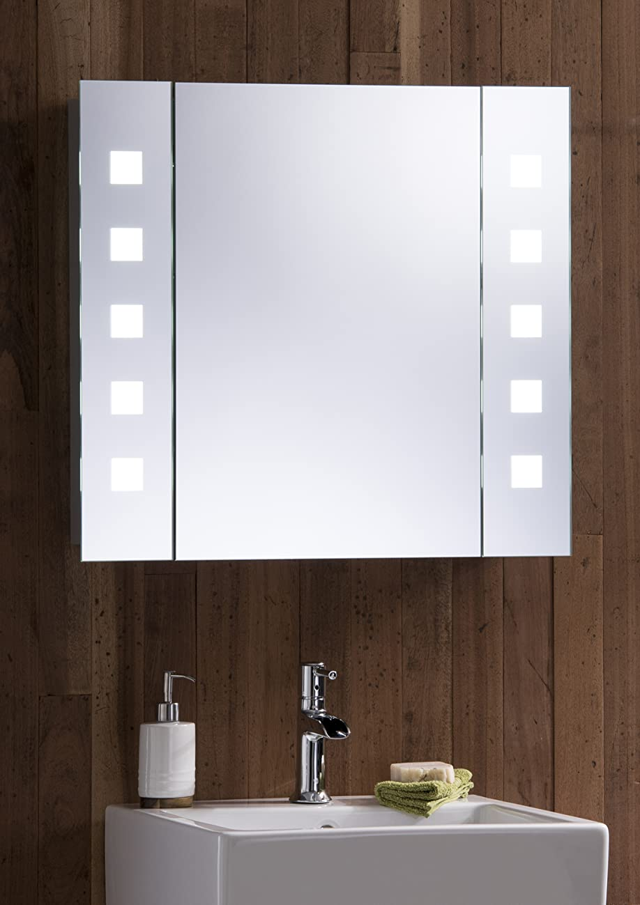 Led illuminated bathroom mirror cabinet with wire free concealed demister heat pad shaver Neue design bathroom mirror