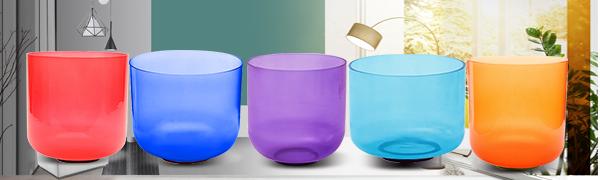 ENERGYSOUND Color/é Indigo Givr/é Bol chantant en cristal de quartz Quartz Chakra 20 cm Th/érapie de yoga