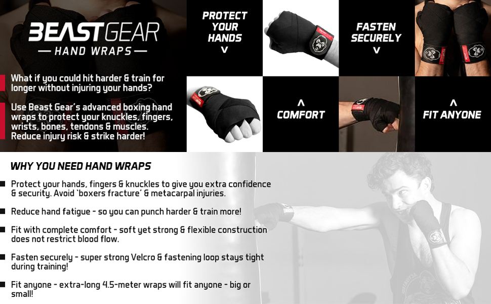 Beast Gear Advanced Boxing Hand Wraps For Combat Sports MMA and Martial...