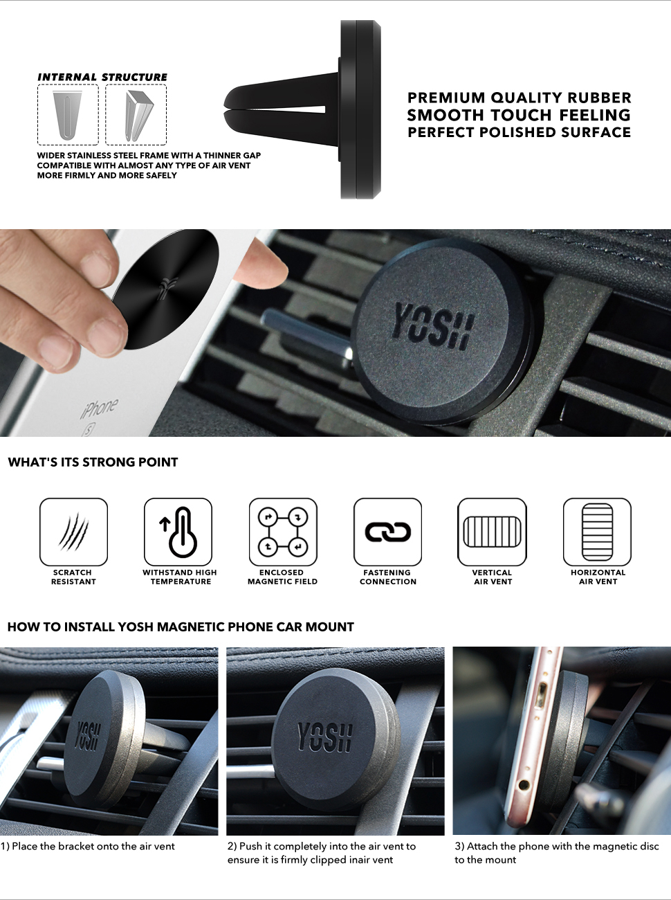 Car phone holder yosh magnetic car air vent mount for amazonco