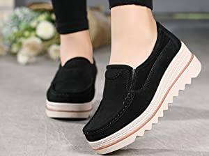 357bfb8cab82 NEOKER Women Ladies Loafer Flats Platform Shoes Slip On Suede Moccasins Low  Top Wedge Sneakers 5cm Black Blue Gray UK3-6.5