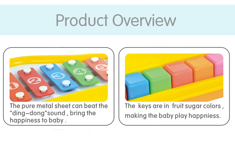8 Keys Toddler Toy Happy Xylophone Piano Attached 6 Pieces Of Music