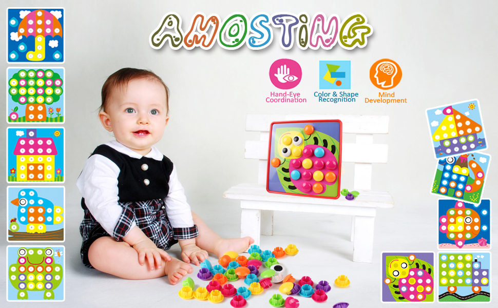 AMOSTING 3D Puzzles for Kids Creative Gifts Peg Puzzle ...