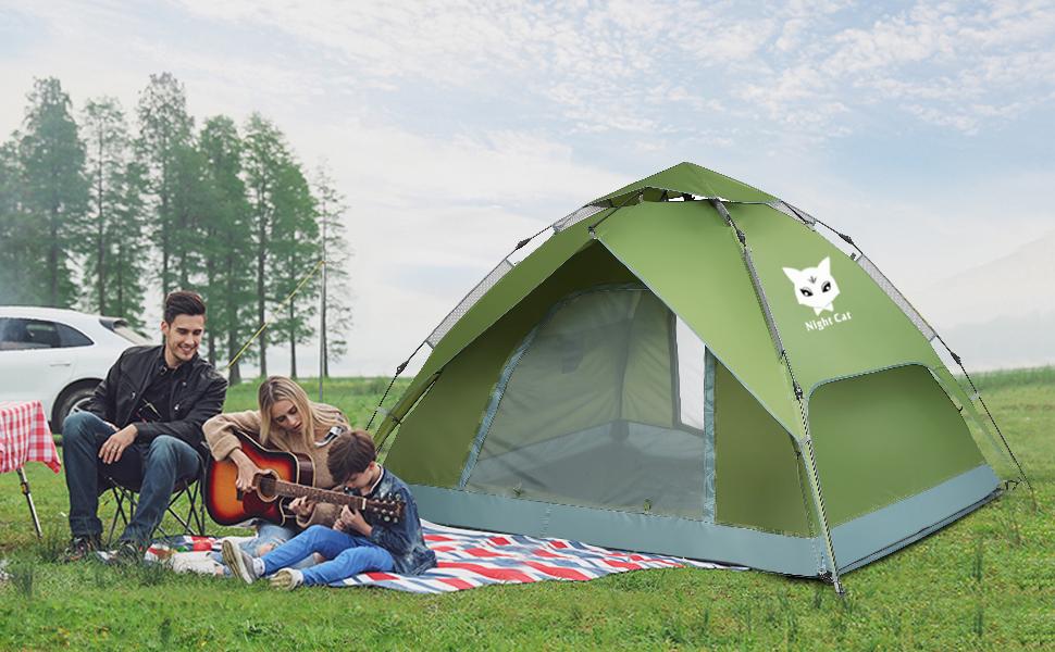 Night Cat Pop Up Tent 2 3 4 Man Camping Tent Waterproof