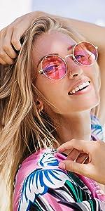 round frame hippy sunglasses