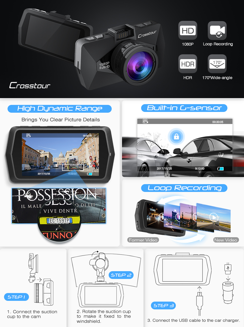 crosstour cr500 1080p full hd dash cam car video recorder. Black Bedroom Furniture Sets. Home Design Ideas